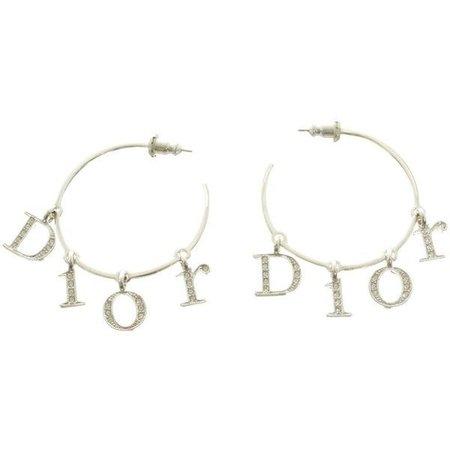 Pre-owned Hoop earrings in silver tone