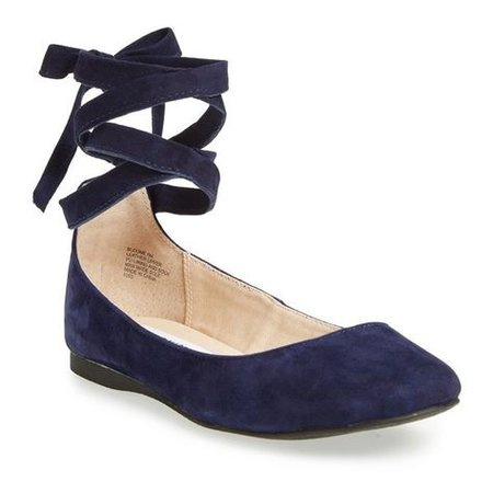 Women's Steve Madden 'Bloome' Wraparound Tie Flat ($80) ❤ liked on Polyvore featuring shoes, flats, navy suede, black flats, suede… in 2019 | Steve madden flats, Navy ballet flats, Ballet inspired fashion