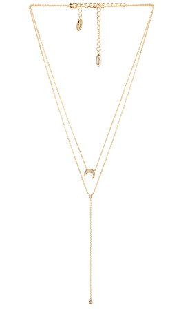 Ettika Layered Moon Lariat Necklace in Gold | REVOLVE