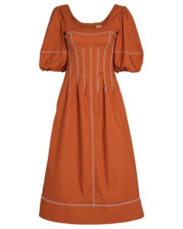 Jonathan Simkhai Lena Puff Sleeve Midi Dress   INTERMIX®