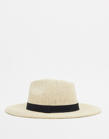 ASOS DESIGN fedora straw hat with black band in natural | ASOS