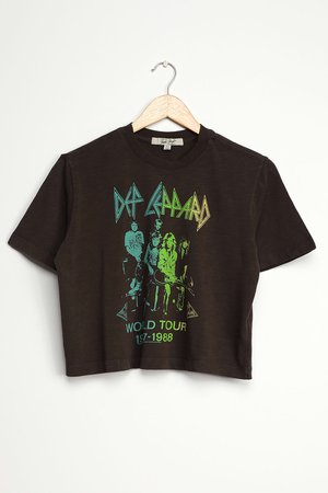Junk Food Def Leppard World Tour - Cropped Graphic Tee - Band Tee