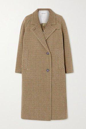 Ingrid Houndstooth Cotton-tweed Coat - Beige