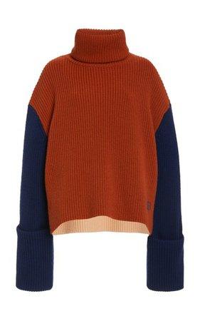 Oversized Colorblock Wool Sweater By Victoria Victoria Beckham   Moda Operandi