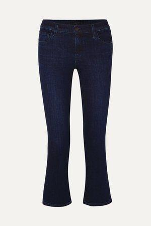 Selena Cropped Flared Jeans - Dark denim