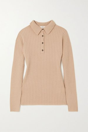 Beige Ribbed cashmere sweater | Allude | NET-A-PORTER