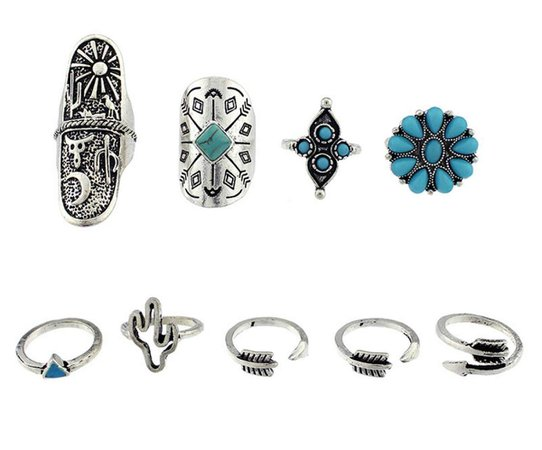1set/lot Bohemian Style Vintage Anti Silver Color Rings turquoise deer Fawn geometry arrow Rings Set for women (style 1)