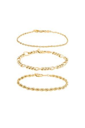 Natalie B Jewelry Triple Crown Bracelet Set in Gold | REVOLVE