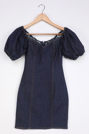 Cute Dark Wash Dress - Denim Mini Dress - Puff Sleeve Dress - Lulus
