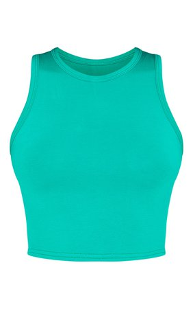 Bright Green Jersey Racerback Crop Top   Tops   PrettyLittleThing USA
