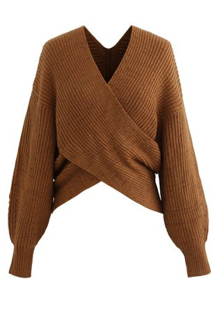 Crisscross Ribbed Knit Crop Sweater in Caramel - Retro, Indie and Unique Fashion