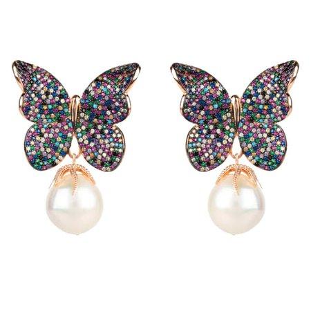 Серьги-бабочки с разноцветными жемчужинами барокко Rosegold | ЛАТЕЛИТА | Волк и барсук