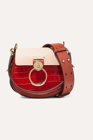 Red Tess small croc-effect and lizard-effect leather shoulder bag | Chloé | NET-A-PORTER