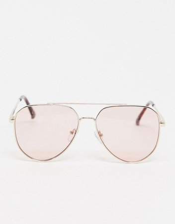 ASOS DESIGN gold aviator sunglasses with pink lens | ASOS
