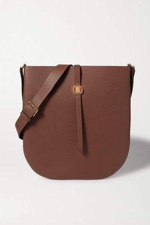 Textured-leather Shoulder Bag - Brown