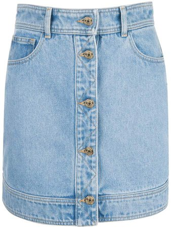 quilted panel denim skirt