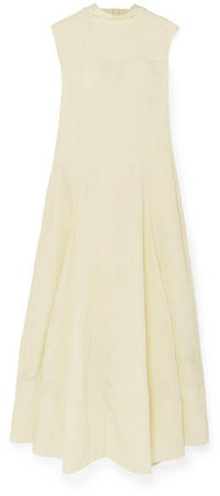 Gathered Voile Maxi Dress - Yellow