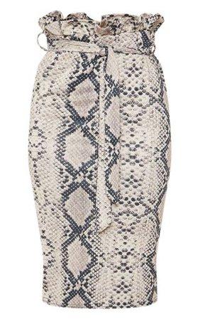 Snake Print Paperbag Midi Skirt | Skirts | PrettyLittleThing