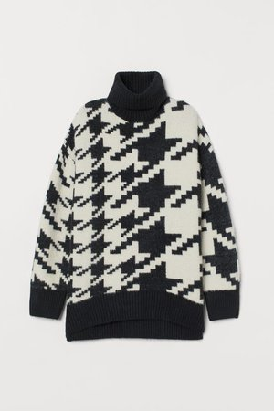 Jacquard-knit Sweater - Black/houndstooth-patterned - Ladies | H&M US