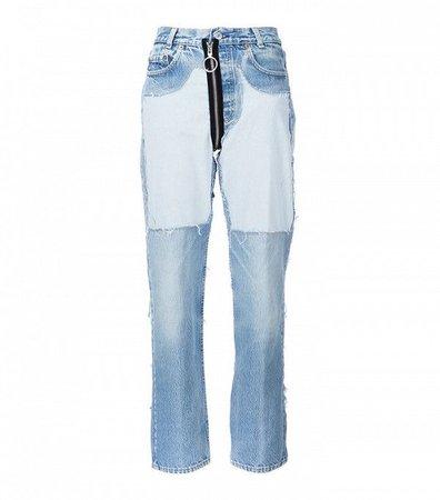 Off-White Contrast Panel Boyfriend Jeans ($970)