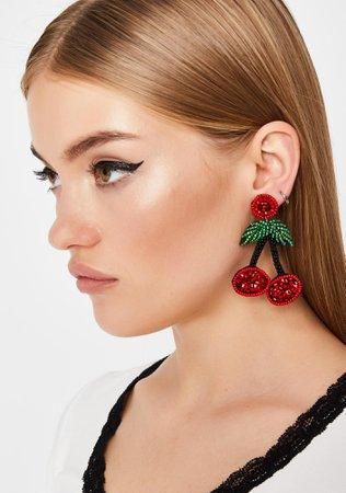 Red Beaded Cherry Charm Drop Earrings | Dolls Kill