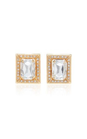 Crystal-Embellished Gold-Tone Clip-On Earrings by Alessandra Rich | Moda Operandi