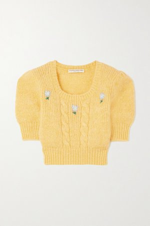Yellow Cropped embroidered cable-knit sweater | Alessandra Rich | NET-A-PORTER
