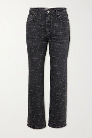 Printed High-rise Straight-leg Jeans - Black
