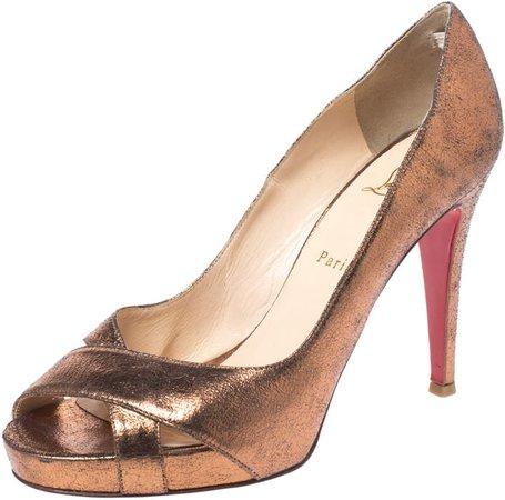 Metallic Bronze Leather Peep Toe Platform Pumps Size 41