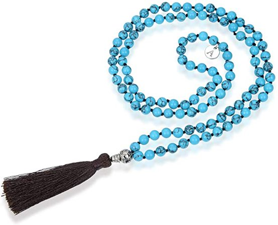 Amazon.com: Adabele Premium 108 Mala Beads Malas Necklace - Blue Howlite Healing Crystal Tibetan Buddhist Prayer Beads Japa Mala Tassel for Meditation Yoga Reiki Chakra Stones RGN6: Jewelry