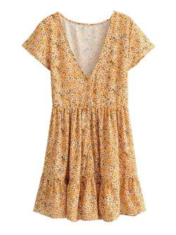 'Sabrina' Floral Print Frilled Mini Dress
