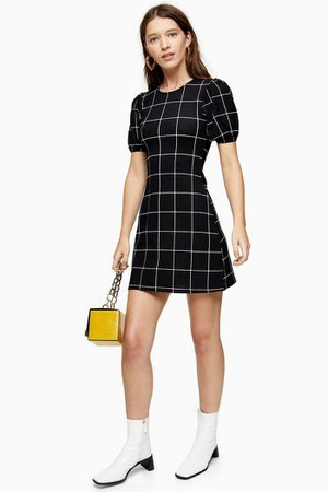 Black and White Check Crinkle Puff Sleeve Mini Dress | Topshop