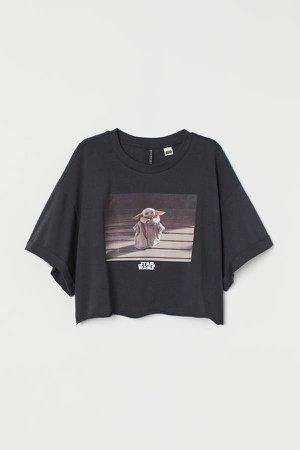 Cropped Printed T-shirt - Gray