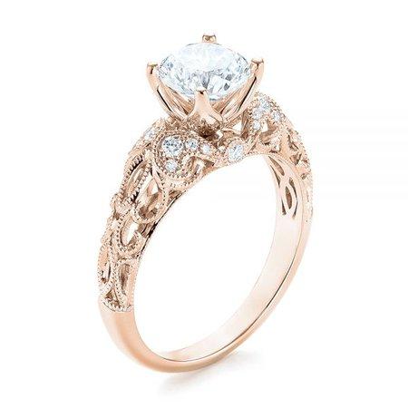 18k Rose Gold Filigree Diamond Engagement Ring #103101 - Seattle Bellevue | Joseph Jewelry