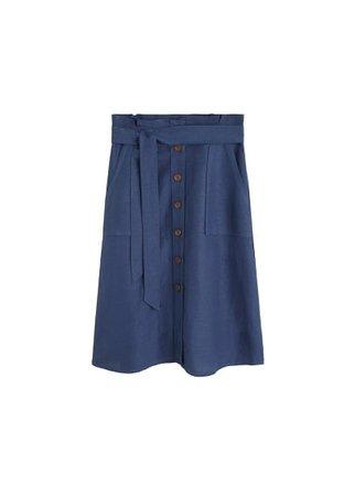 MANGO Linen midi skirt