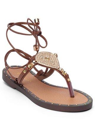 Lace Up Gladiator Sandals in Cognac | VENUS