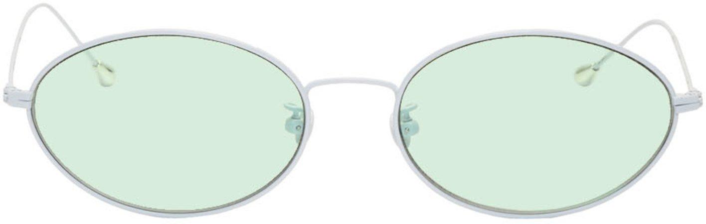 Ann Demeulemeester: White & Green Linda Farrow Edition Oval Sunglasses | SSENSE