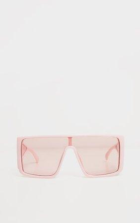 Light Pink Oversized Flat Frame Sunglasses | PrettyLittleThing
