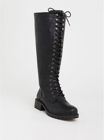 Black Lace-Up Tall Combat Boot