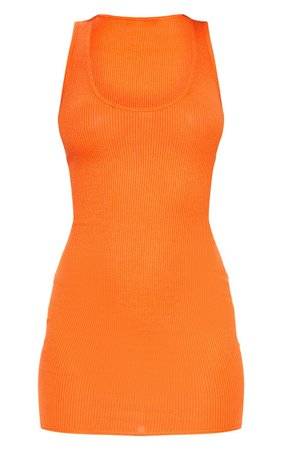 *clipped by @luci-her* Bright Orange Ribbed Scoop Neck Bodycon Dress   PrettyLittleThing USA