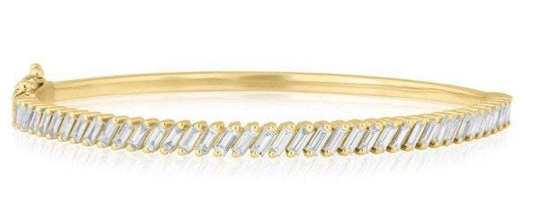 YELLOW GOLD BAGUETTE DIAMOND CLARISSA BANGLE BRACELET
