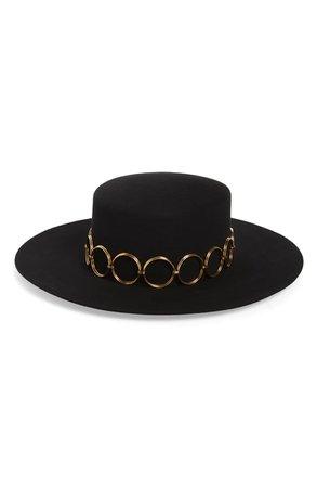 Saint Laurent Fur Felt Boater Hat | Nordstrom