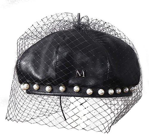 Beret Hat,Leather Beret,French Retro Beret, Unique Design, Fashion Match,Pearl lace Decoration, Simple Casual Pumpkin hat for Ladies Black at Amazon Women's Clothing store