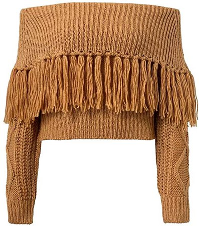 ERGUXXH Tassels Off Shoulder Pullover Sweater Womens Solid Knitted Long Sleeve Top Grey at Amazon Women's Clothing store