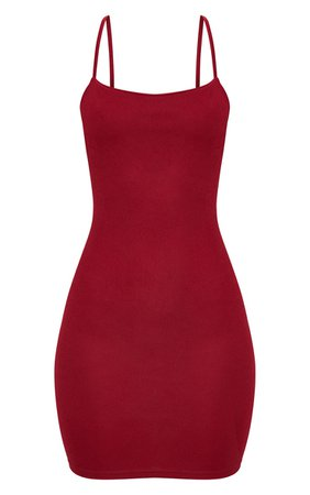 *clipped by @luci-her* Burgundy Strappy Straight Neck Bodycon Dress | PrettyLittleThing USA