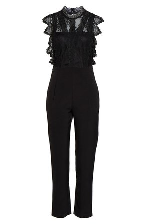 Adelyn Rae Madeline Lace Jumpsuit black