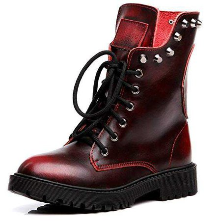 Amazon.com | Shenn Women's Round Toe Knee High Punk Military Combat Boots(Wine Red, US6.5) | Ankle & Bootie