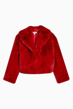 Red Cropped Faux Fur Coat | Topshop