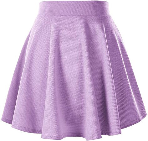 Women's Basic Versatile Stretchy Flared Casual Mini Skater Skirt (L, Lilac) at Amazon Women's Clothing store