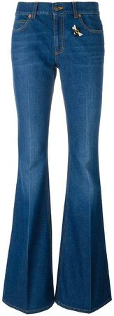 embroidered flared denim jeans